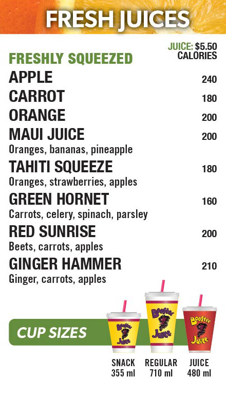 Booster Juice in the Fanshawe Student Wellness Centre menu