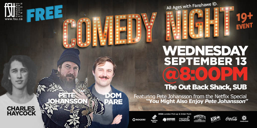 Comedy Night: Pete Johansson, Dom Pare and Charles Haycock Wednesday, September 13th, 2017					