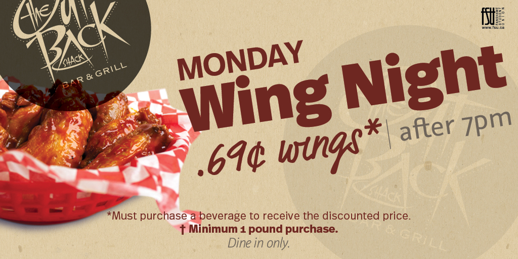 Wing Night Monday, September 25th, 2017					