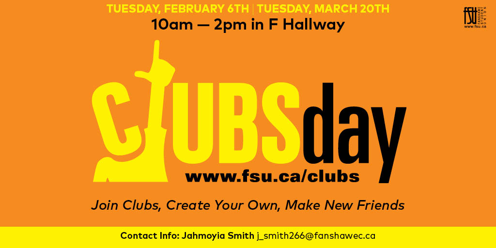 Clubs Day Tuesday, March 20th, 2018					
