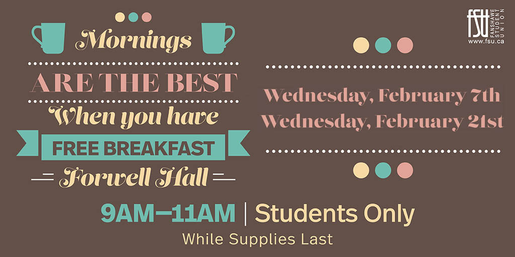 Free Breakfast Wednesday, February 21st, 2018					