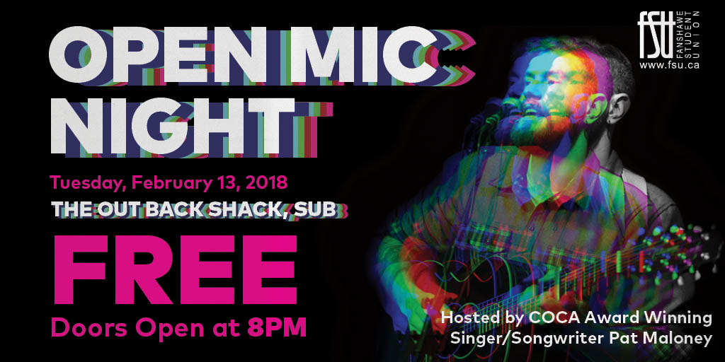 Open Mic Night Tuesday, February 13th, 2018					