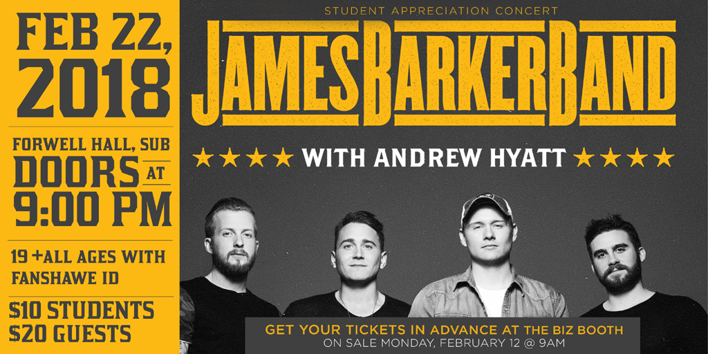 James Barker Band with Andrew Hyatt Thursday, February 22nd, 2018					