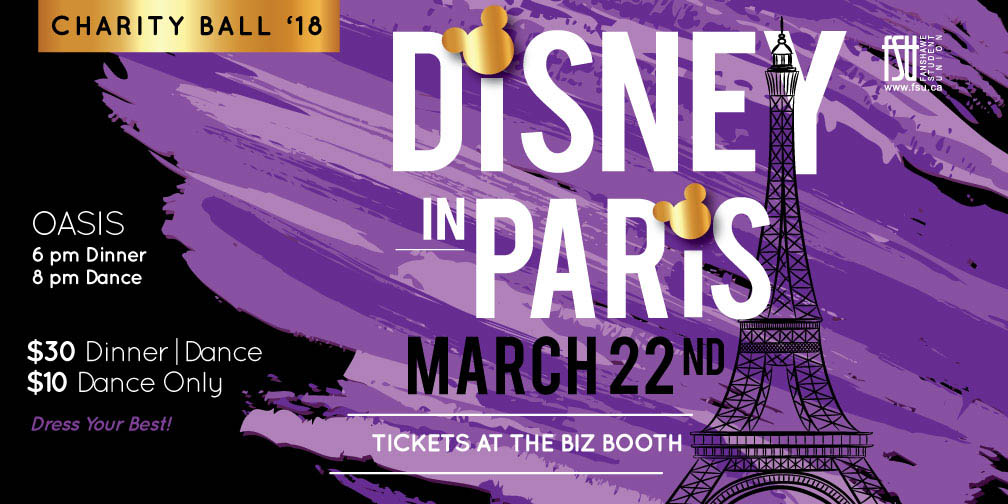 CANCELLED: FSU Charity Ball: Disney in Paris Thursday, March 22nd, 2018					