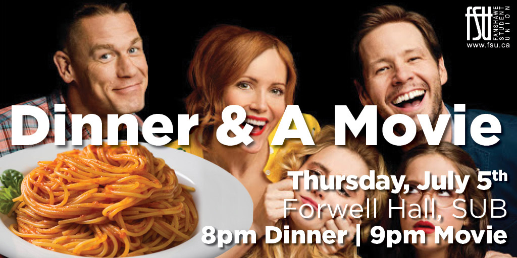 Free Dinner and a Movie in Oasis Thursday, July 5th, 2018					