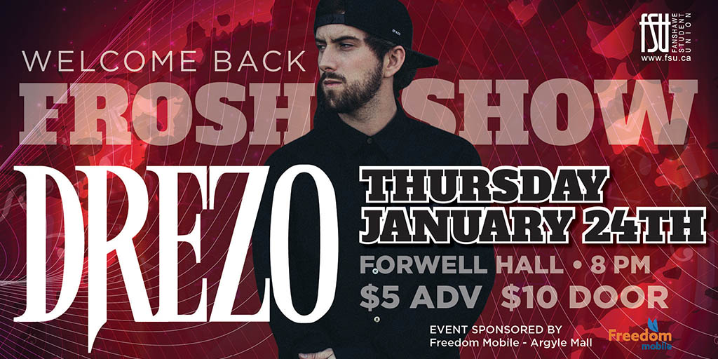 Drezo January 24th in Forwell Hall at 8 PM
