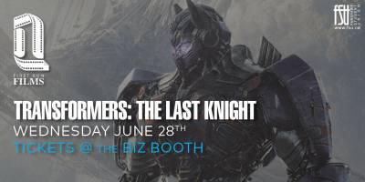 SOLD OUT: First Run Film: Transformers: The Last Knight Wednesday, June 28th, 2017 to Thursday, June 29th, 2017 Imagine Cinemas (CITI Plaza) $4 for students/$6 for guests All-ages with valid Fanshawe student card/19+ without