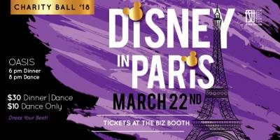 CANCELLED: FSU Charity Ball: Disney in Paris Thursday, March 22nd, 2018 to Friday, March 23rd, 2018 Oasis $30 for both the dinner and dance, or $10 for just for the dance All-ages with valid Fanshawe student card/19+ without