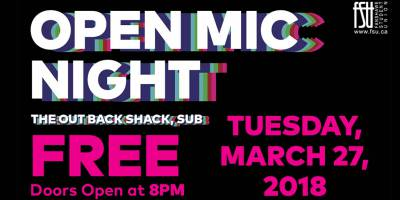 Open Mic Night Tuesday, March 27th, 2018 to Tuesday, March 27th, 2018 The Out Back Shack Free All-ages with valid Fanshawe student card/19+ without