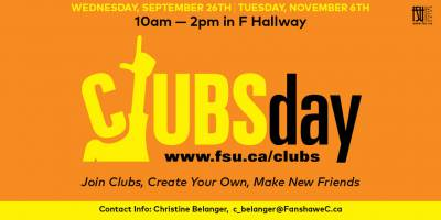 Clubs DayTuesday, November 6th, 2018