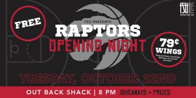 Raptors Opening Night and Special Wing Night