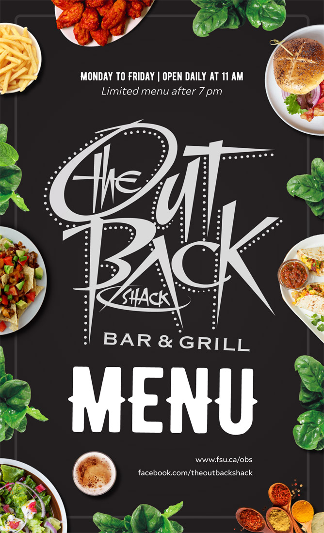 The Out Back Shack menu