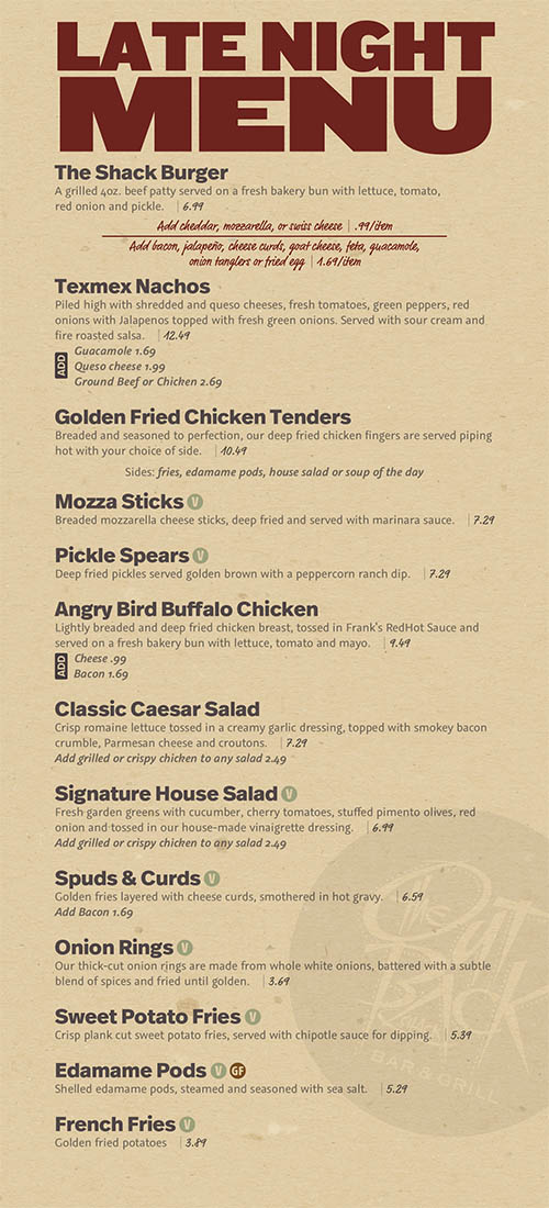 The Out Back Shack Late Night menu