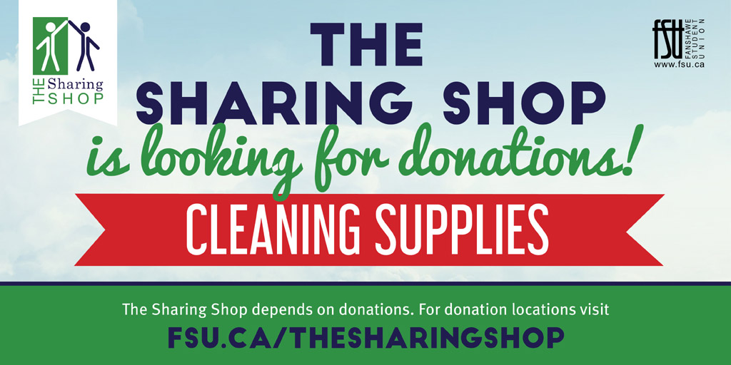 The Sharing Shop is looking for donations of Cleaning Supplies