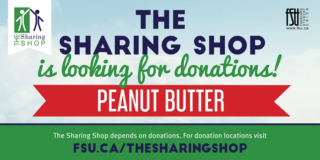 The Sharing Shop is looking for donations of peanut butter