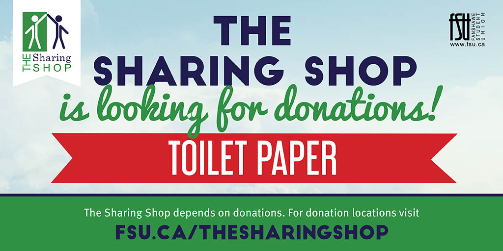 The Sharing Shop is looking for donations of toliet paper